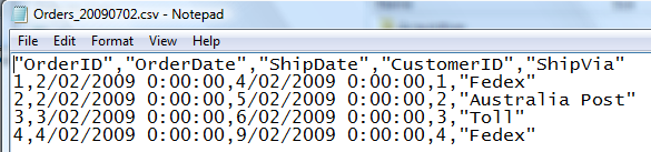 The output file, showing timestamp dates